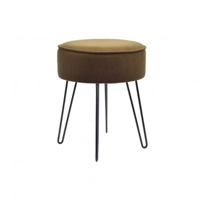 Stool with metal feet, fabric Brown D35xH42cm