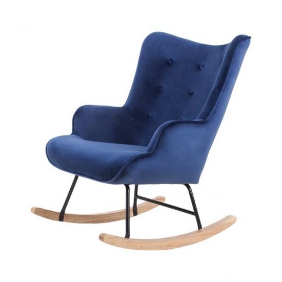 Fauteuil à bascule H92X100X68CM en velours Bleu