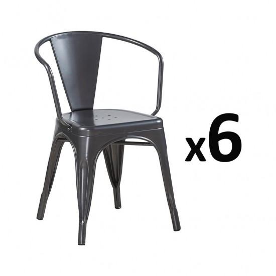 Fauteuil INDUSTRIEL en metal L36xl36xH73CM Noir Mat