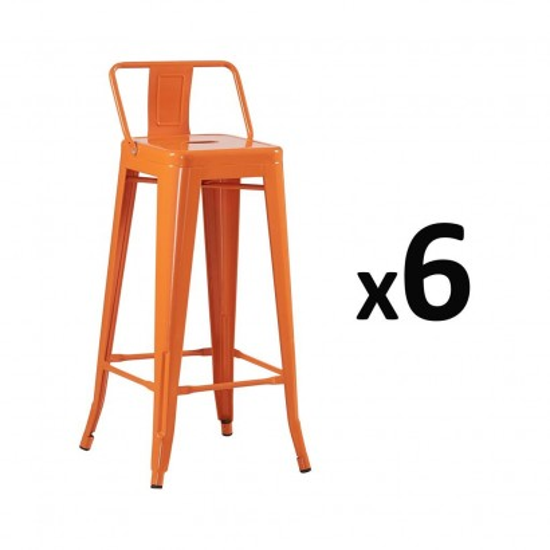 LOT DE 6 Tabouret Bar DESIGN INDUSTRIEL ORANGE