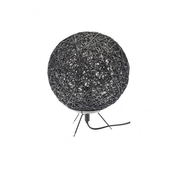 Lampe À Poser D20cm Boule RAFIA 3 Couleurs NOIR