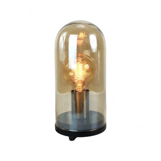 Lampe À Poser Cloche En Verre + Ampoule 20x20xH35cm