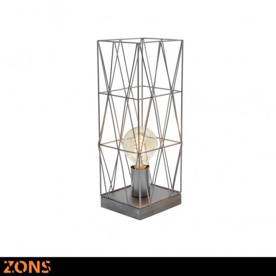Lampe À Poser Métal 13x13xH38cm 3 Couleurs Assorties + Ampoule EDISON BEIGE